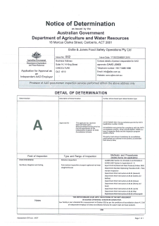 Dept of Agriculture Notice of Determination